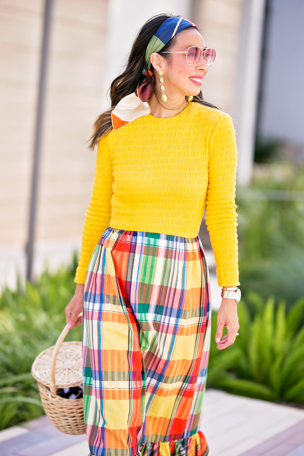 vintage yellow plaid ruffle maxi dress basket bag gold drop earring sonix rose pink aviator sunglasses scarf in hair