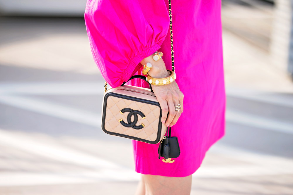 H&M pink balloon sleeve dress chanel filigree vanity bag black beige julie vos bracelet stack