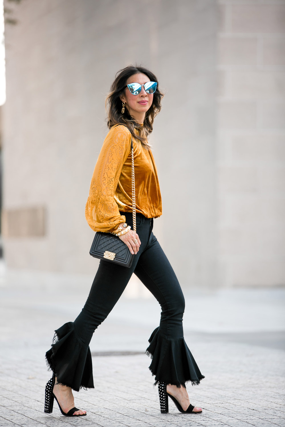 marigold velvet lace top citizens of humanity drew flounce jeans chanel boy bag dior sunglasses