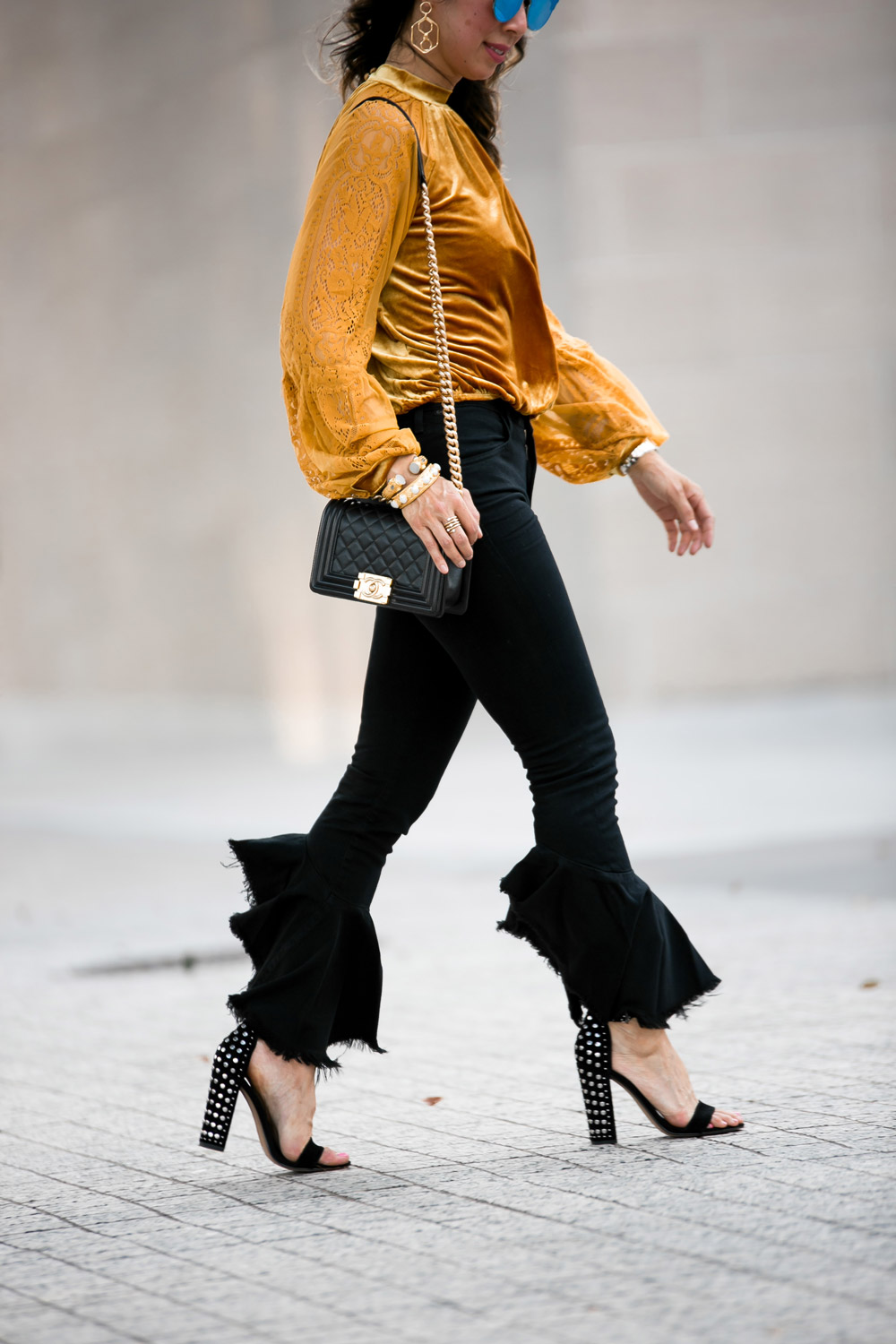 marigold velvet lace top citizens of humanity drew flounce jeans chanel boy bag dolce vita studded sandals