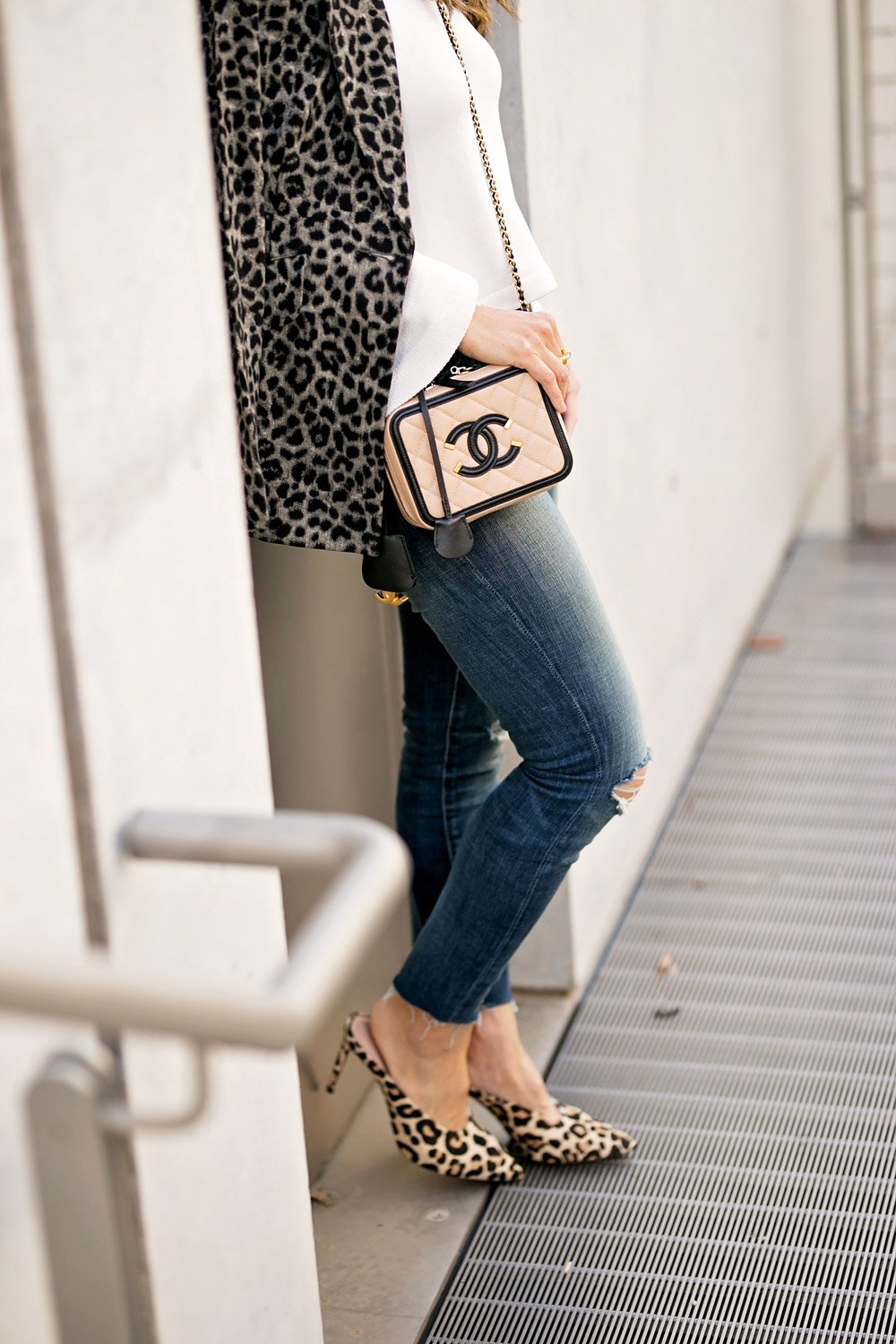 ABLE bell sleeve pullover high rise jeans cabi jungle jacket chanel vanity filigree bag club monaco leopard roquetta pump
