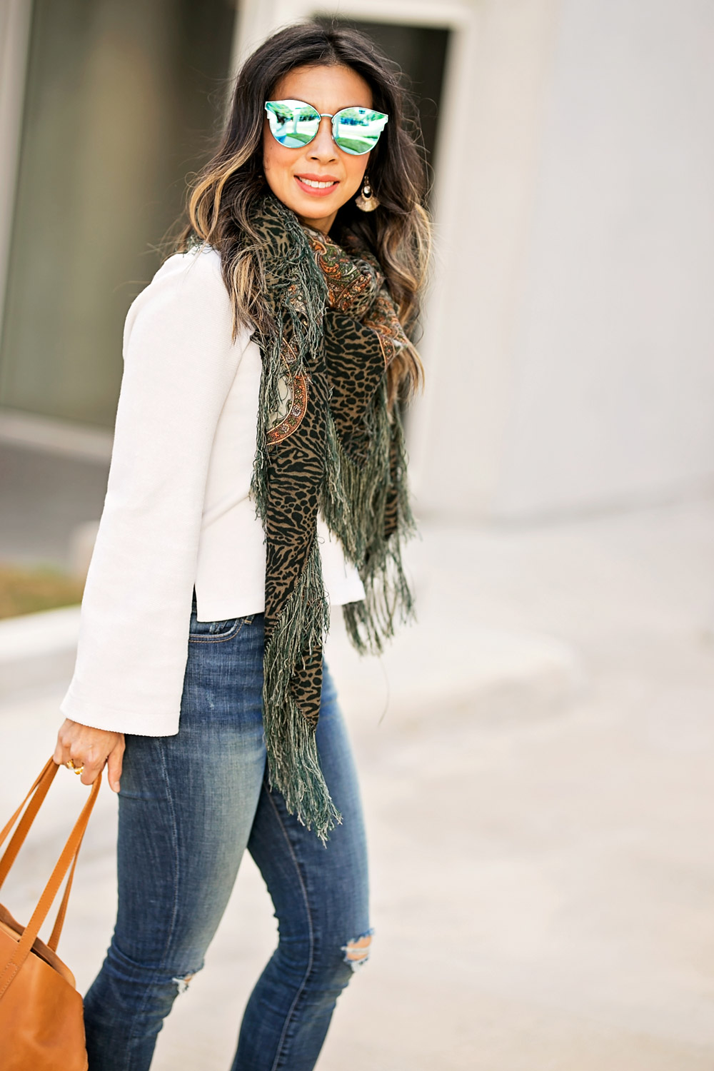 ABLE bell sleeve pullover high rise jeans chelsea boot abera crossbody tote green fringe scarf