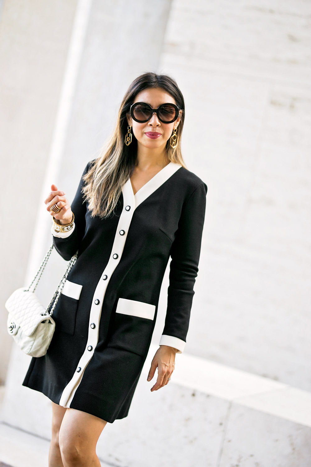 vintage black white contrast trim dress vita fede futuro ring prada round baroque sunglasses baublebar stephania hoop earrings chanel white flap bag