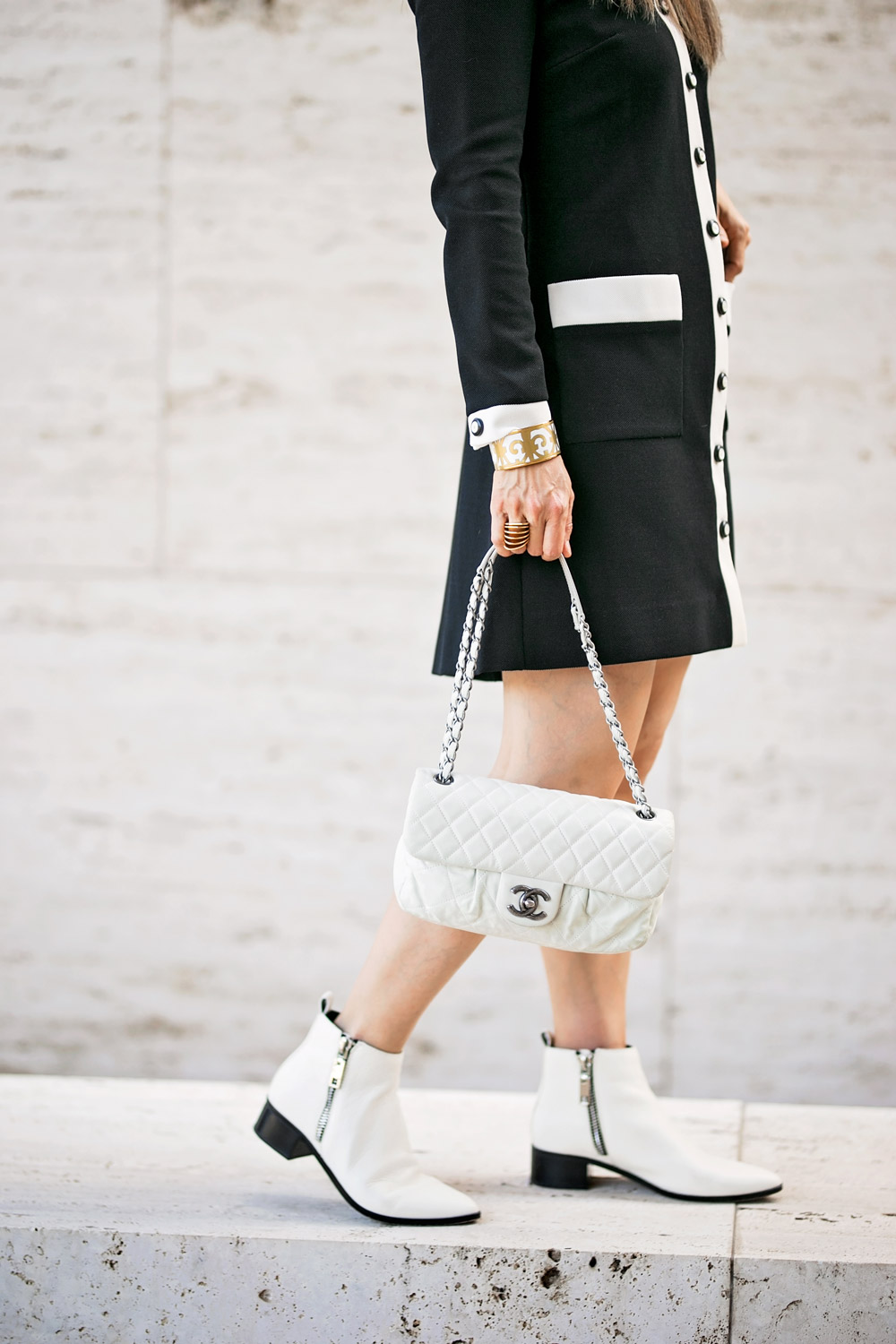 vintage black white contrast trim dress dolce vita white booties hermes balcon bracelet chanel white flap bag