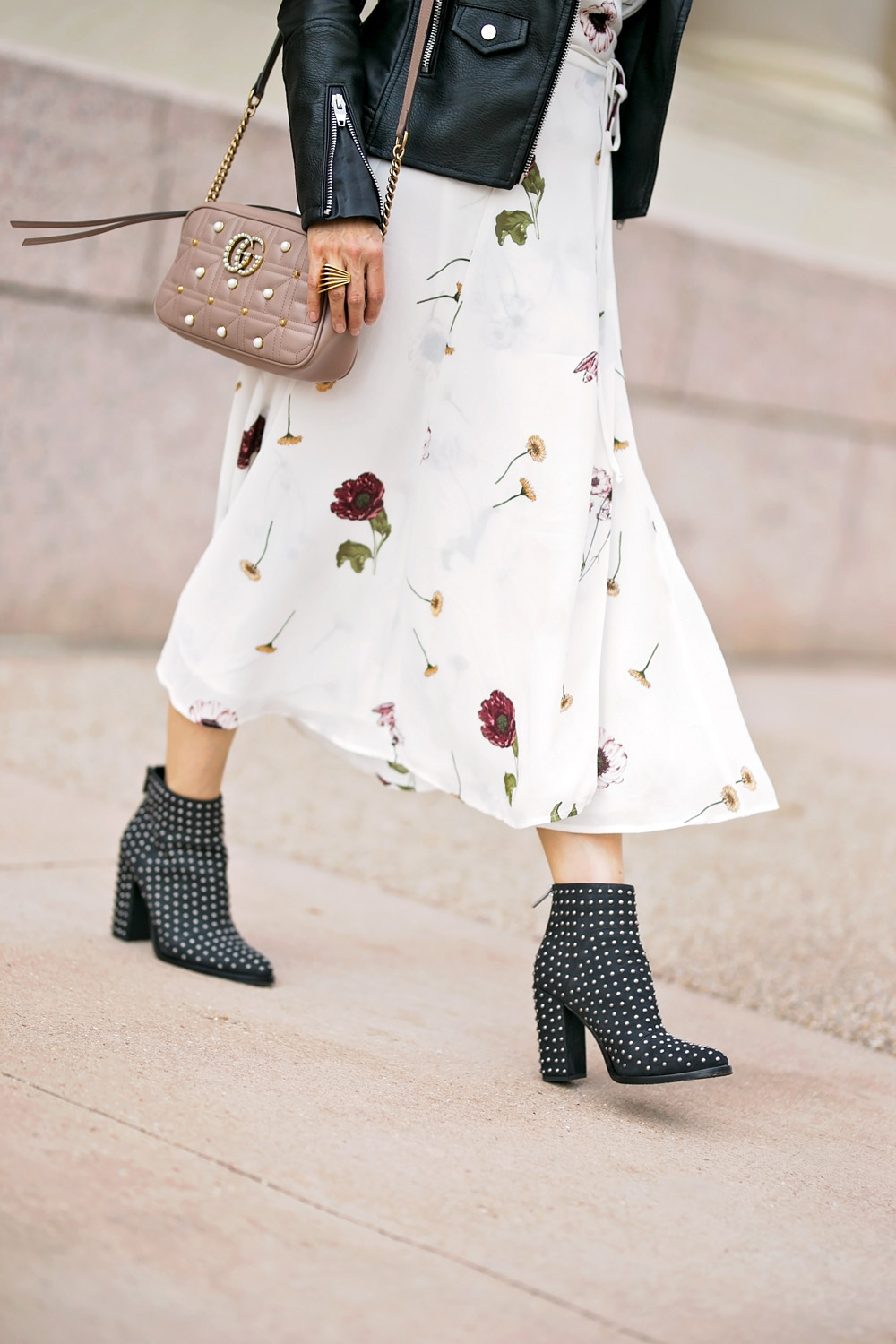 reformation carina floral maxi dress studded booties gucci pearl marmont bag
