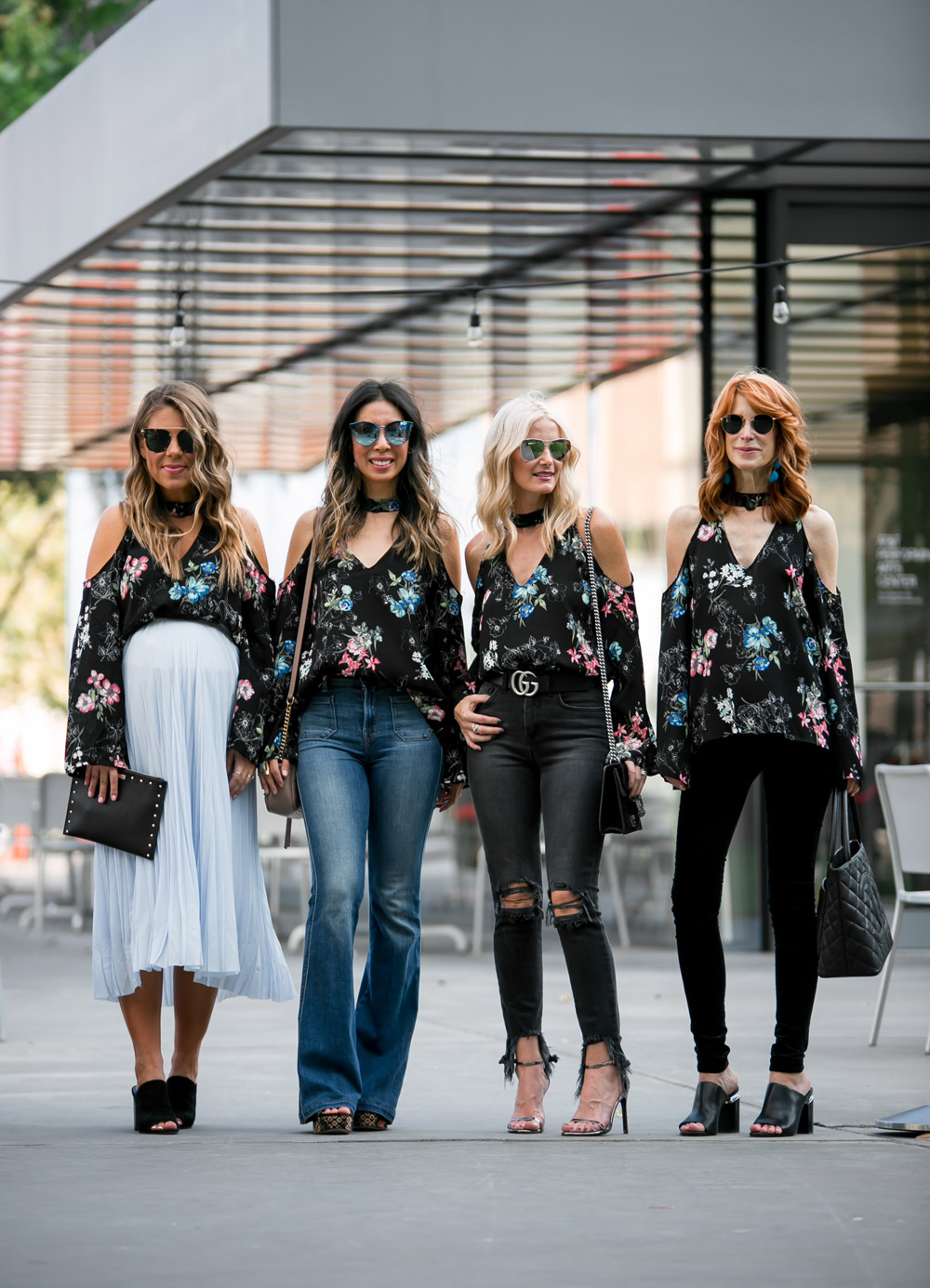 how to wear a cold shoulder choker neck bell sleeve dark floral top, chic at every age