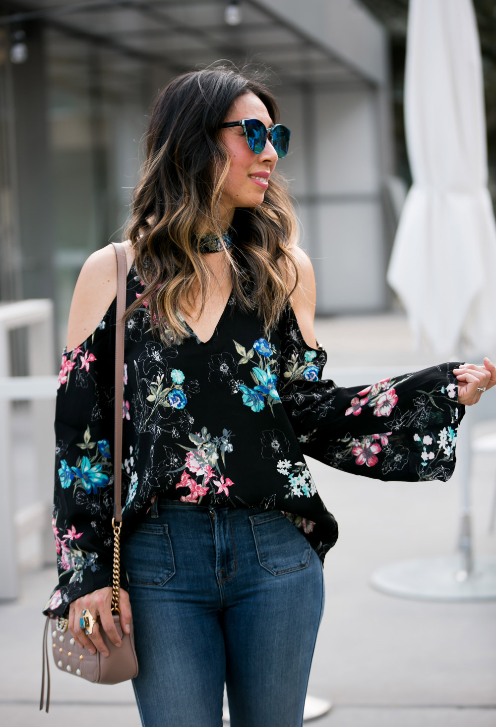cold shoulder bell sleeve dark floral top wishing well acacia turquoise ring gucci pearl marmont bag