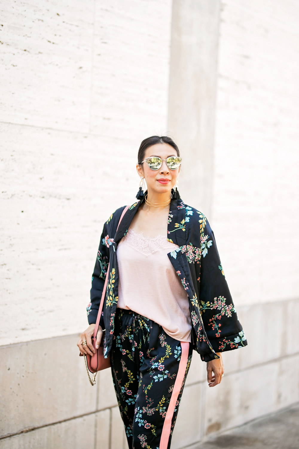 wear who what wear collection floral kimono pajama set baublebar tassel earrings pink lace cami