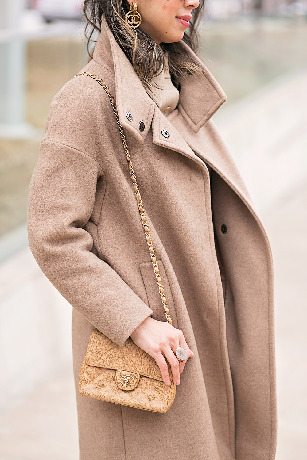 camel coat and beige coord set chanel earrings mini flap