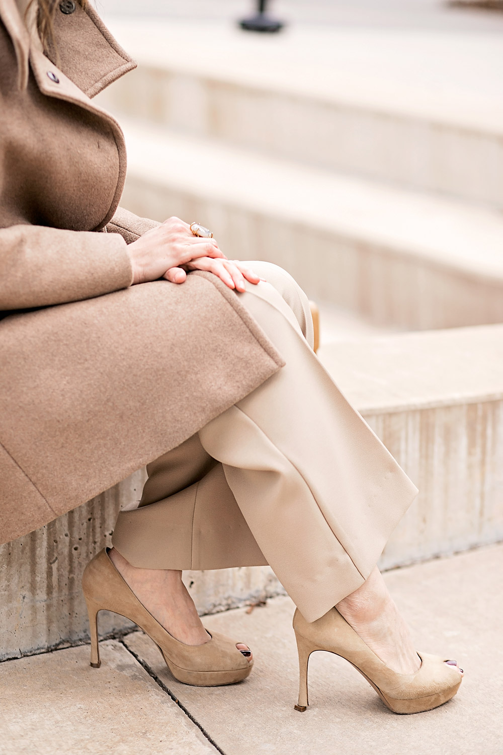 camel coat and beige coord set ysl platform heels