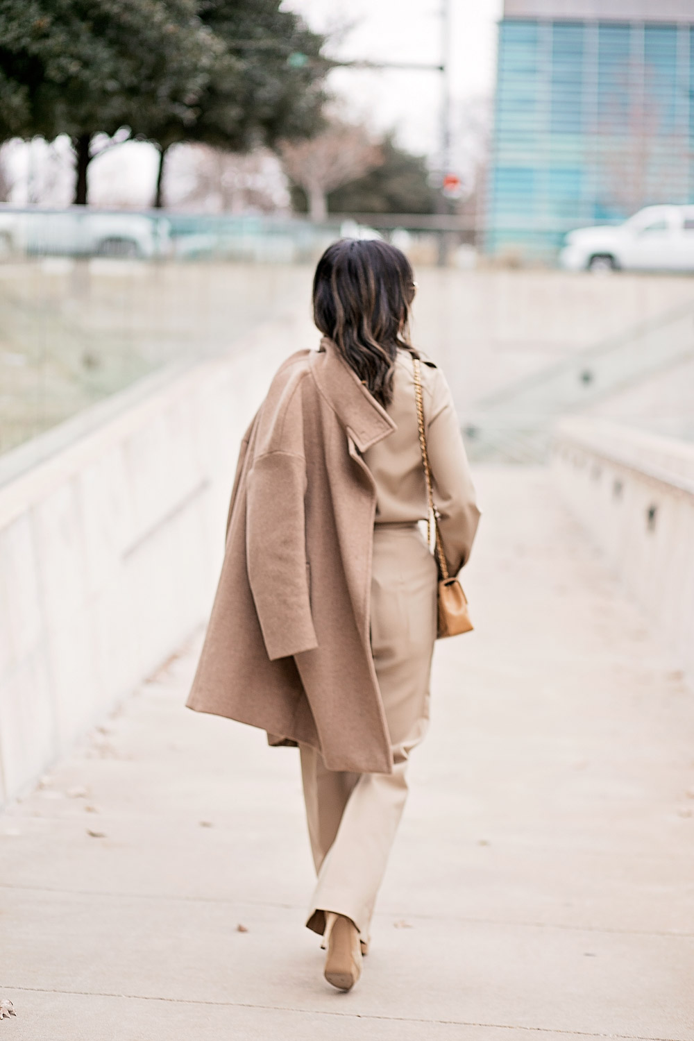 camel coat and beige coord set