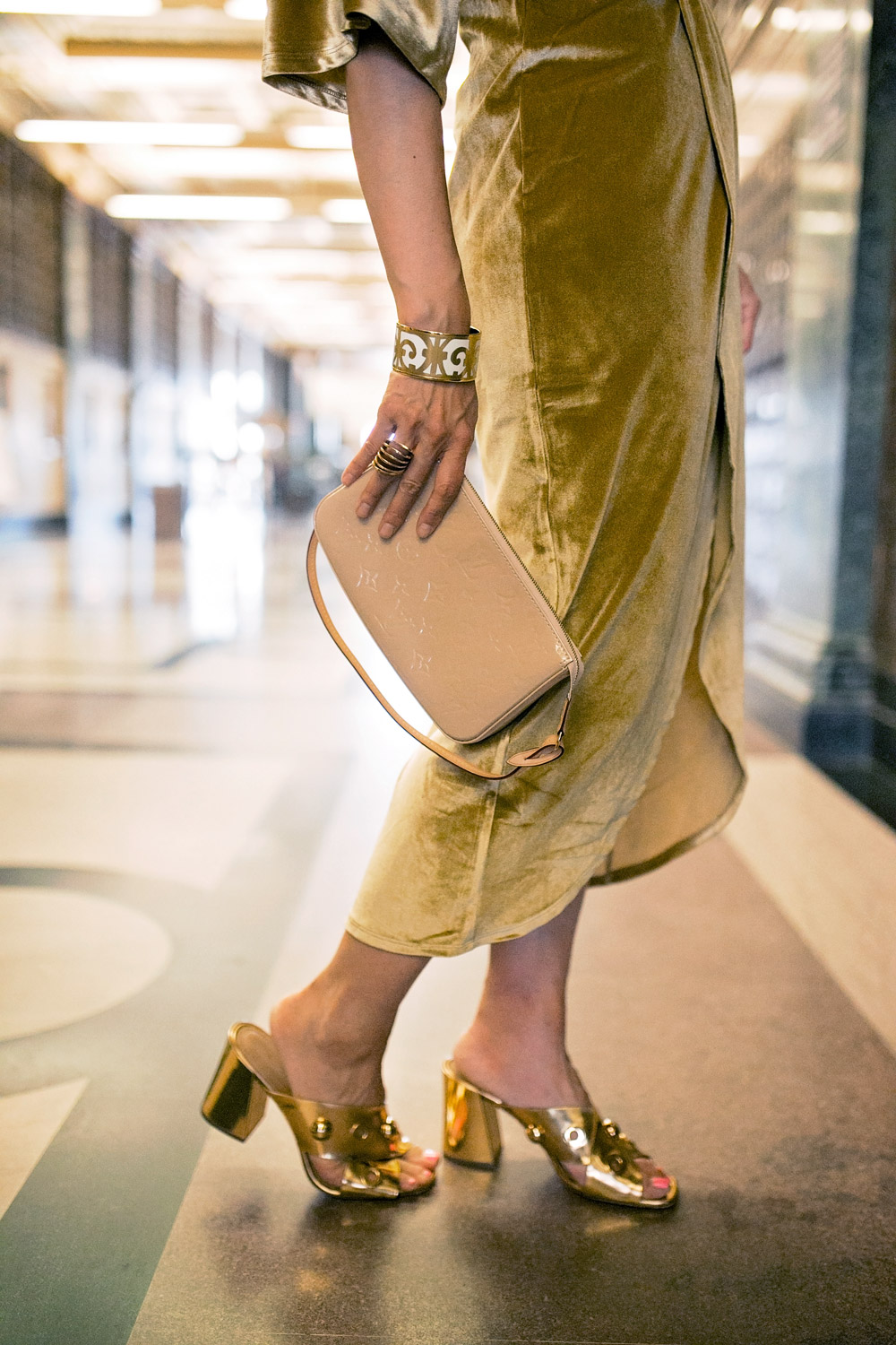 gold velvet dress louis vuitton vernis pochette michael kors gold sandals