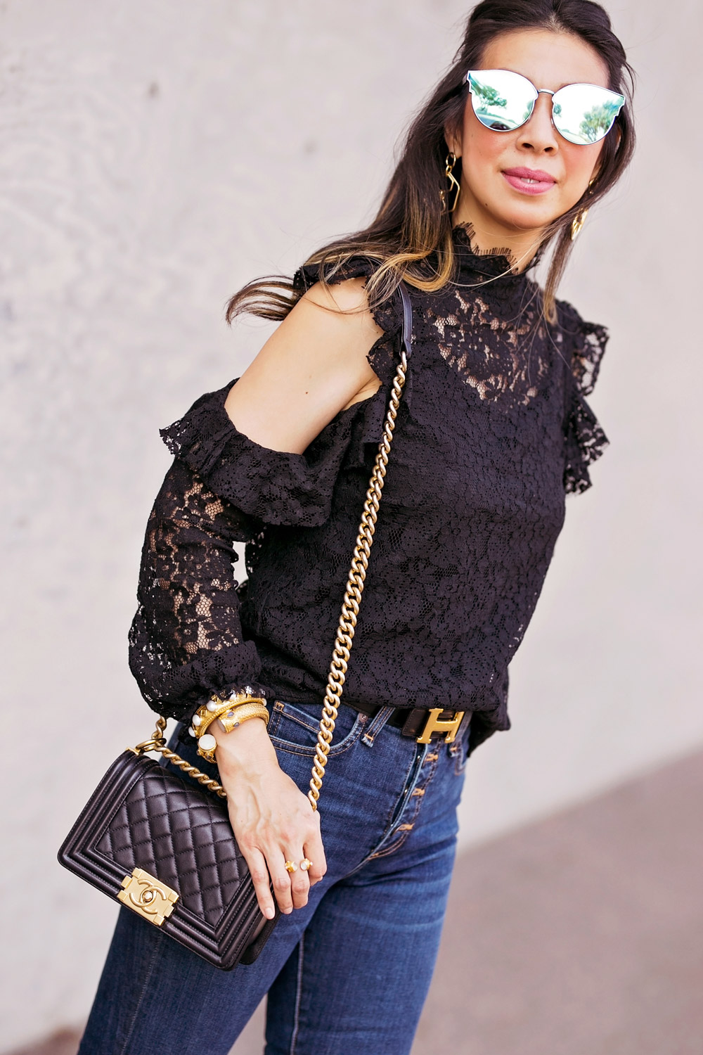 who what wear black ruffle cold shoulder lace top veronica beard button front debbie jeans chanel boy bag
