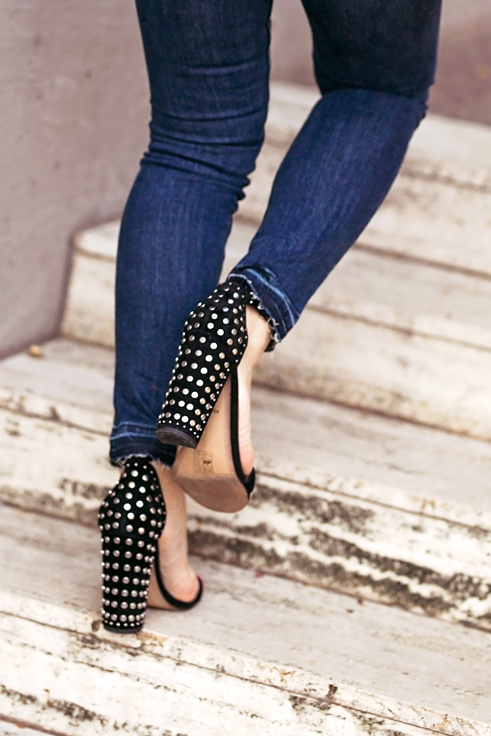 dolce vita studded sandals veronica beard button front raw hem debbie jeans