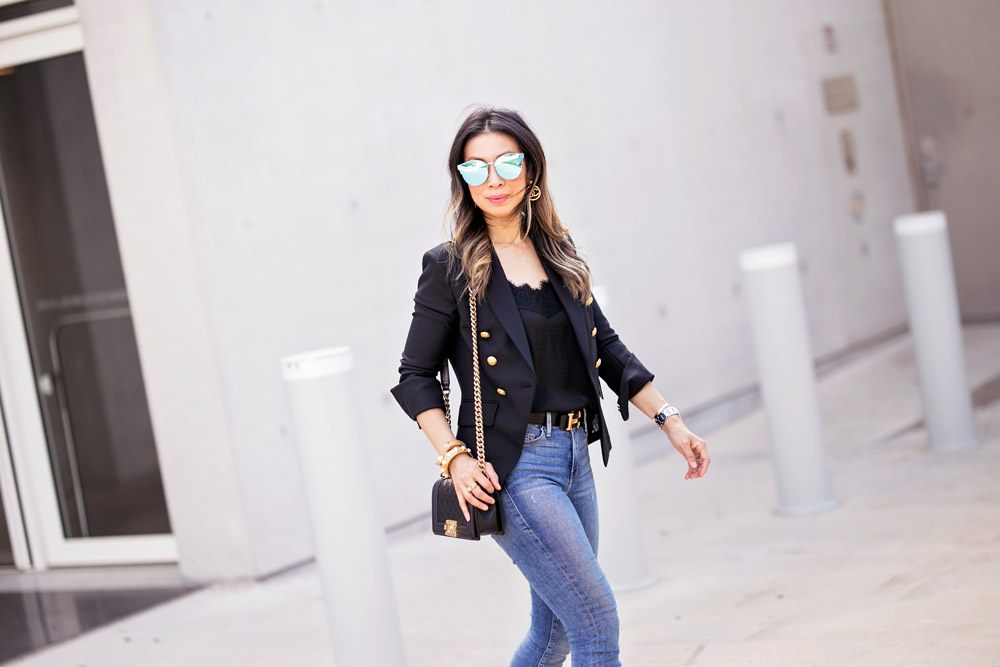 veronica beard hugh blazer black lace cami good american jeans