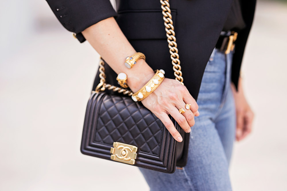 chanel boy bag julie vos bracelet stack