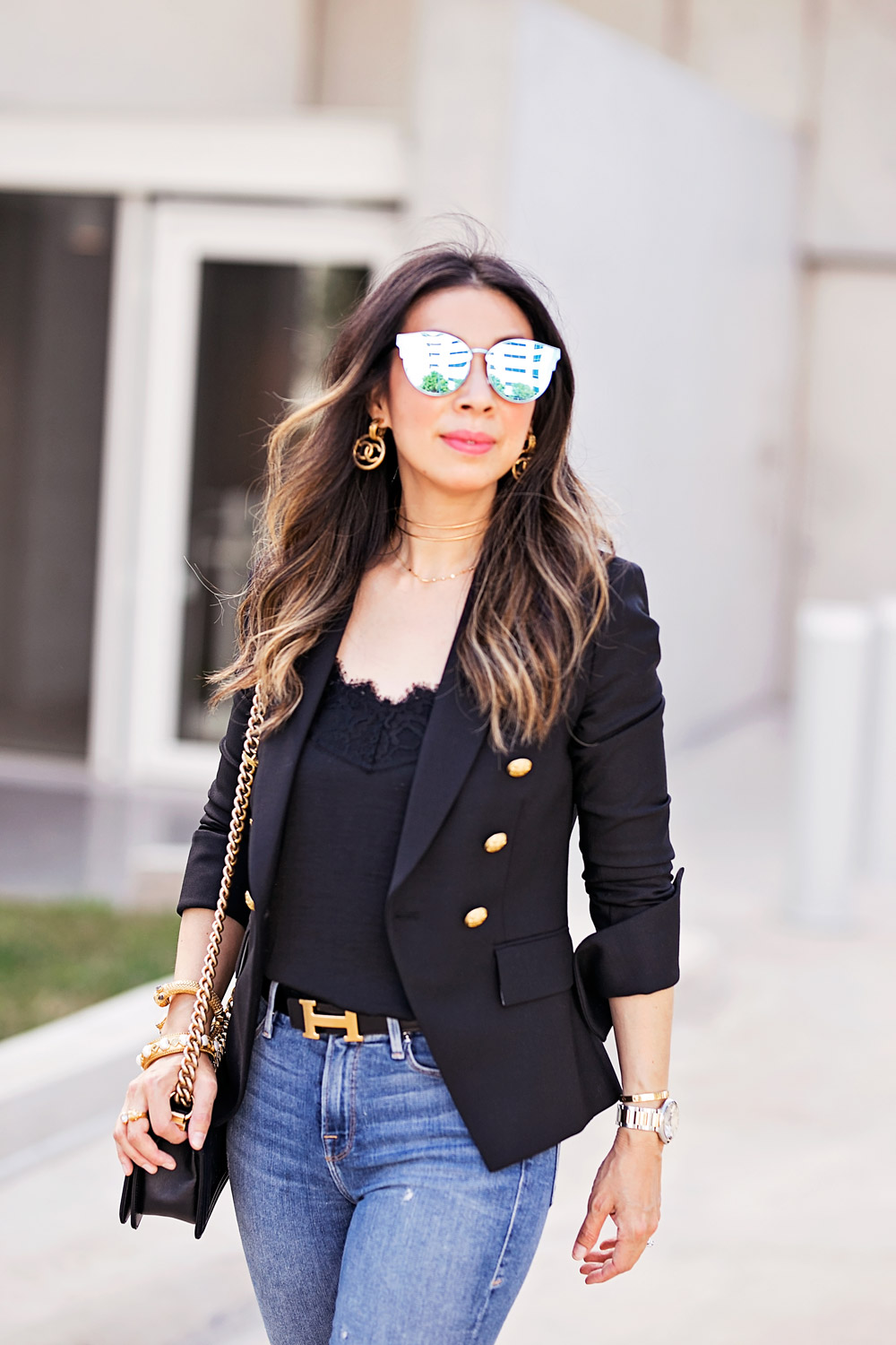 veronica beard hugh blazer black lace cami vintage chanel logo earrings reflective cat eye sunglasses