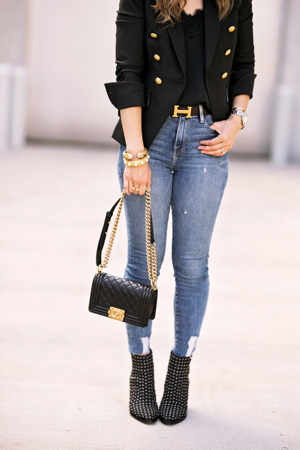 chanel boy bag good american jeans mercer edit studded booties