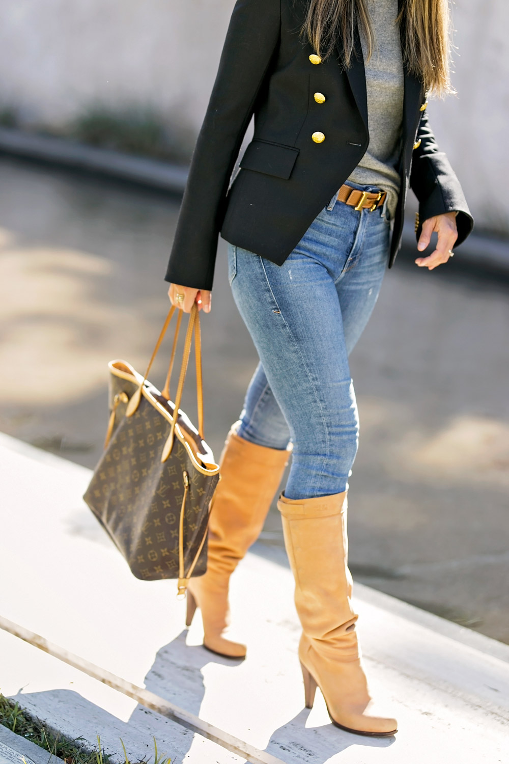 veronica beard hugh blazer grey turtleneck camel knee high boots