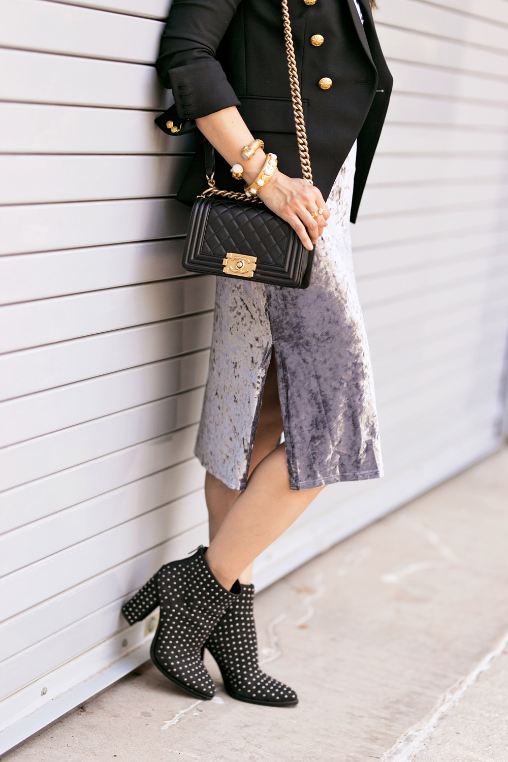 chanel boy bag grey velvet slip dress mercer edit studded booties