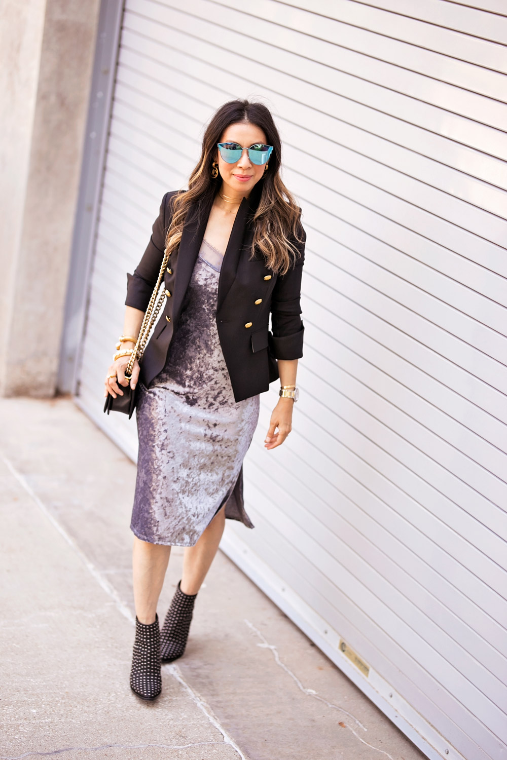 veronica beard hugh blazer grey velvet slip dress mercer edit studded booties