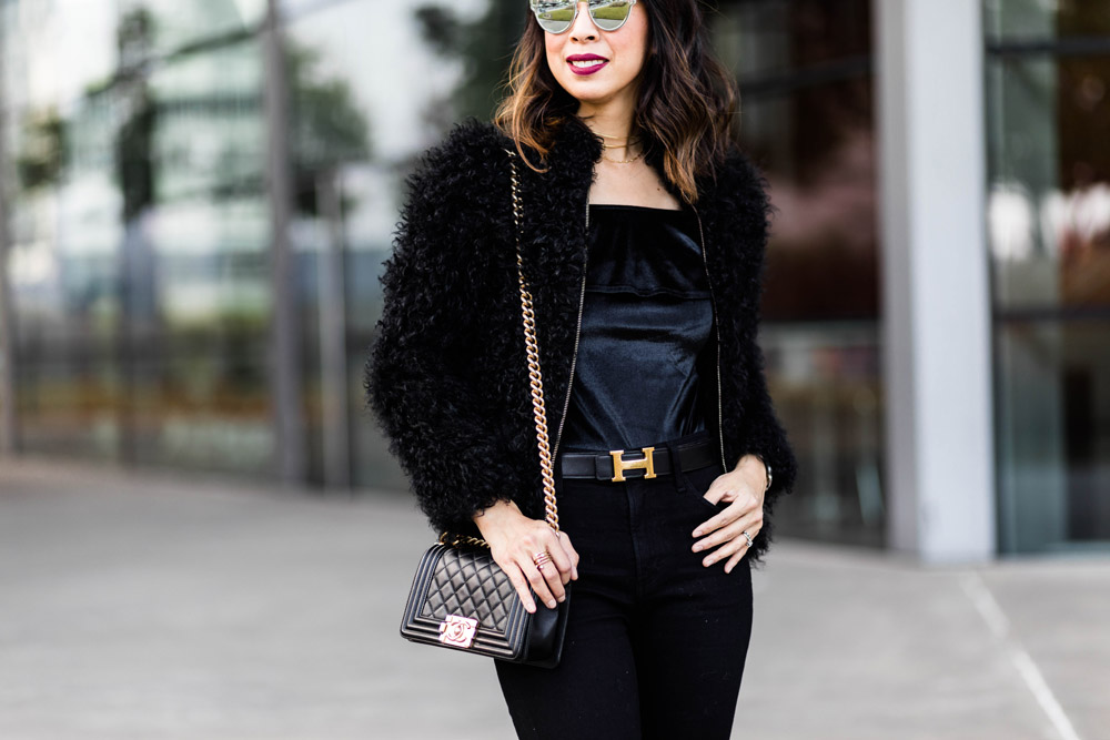 all black outfit fur jacket