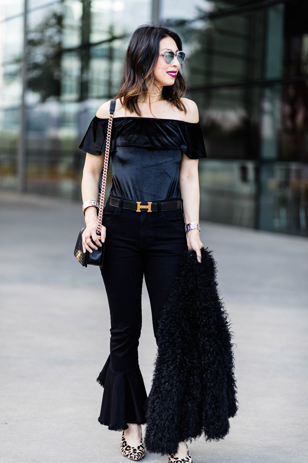 velvet off the shoulder ruffle top citizens of humanity black drew flounce jeans fur jacket