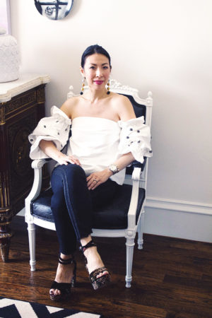 cmeo collection assemble off the shoulder embellished top