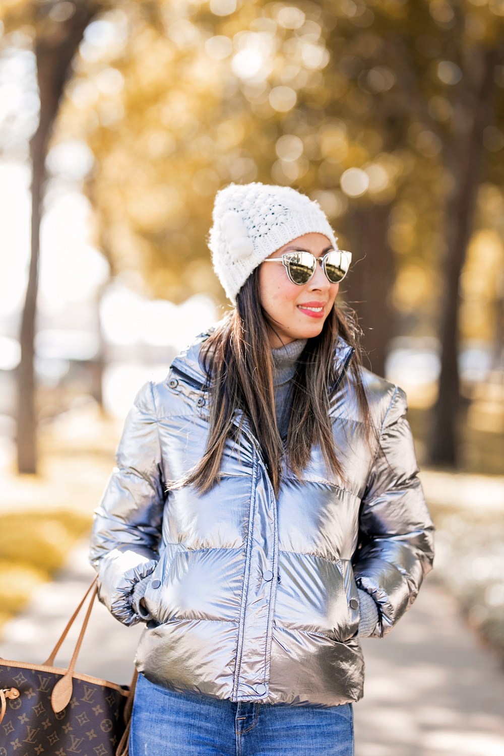 who what wear collection metallic puffer jacket cream pom pom beanie dior asymmetric cat eye sunglasses