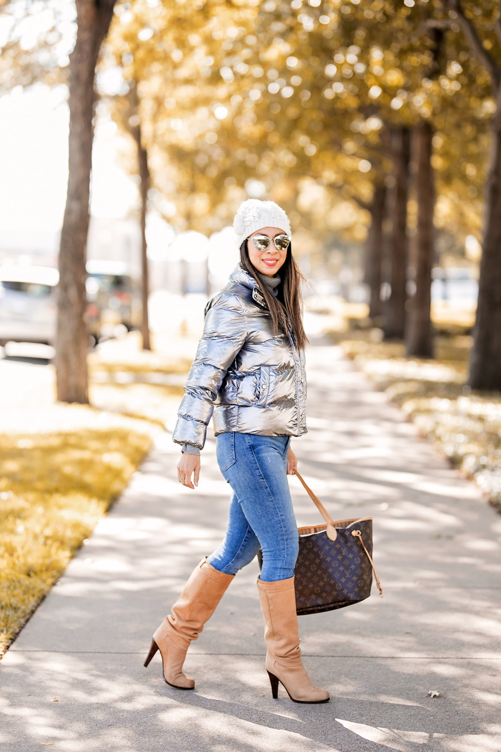 who what wear collection metallic puffer jacket cream pom pom beanie camel knee high boots louis vuitton neverfull mm