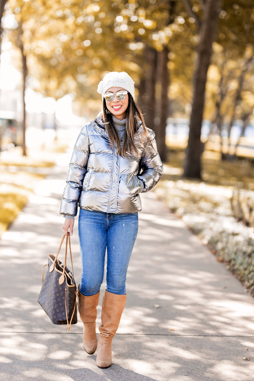 who what wear collection metallic puffer coat cream pom pom beanie camel knee high boots louis vuitton neverfull mm