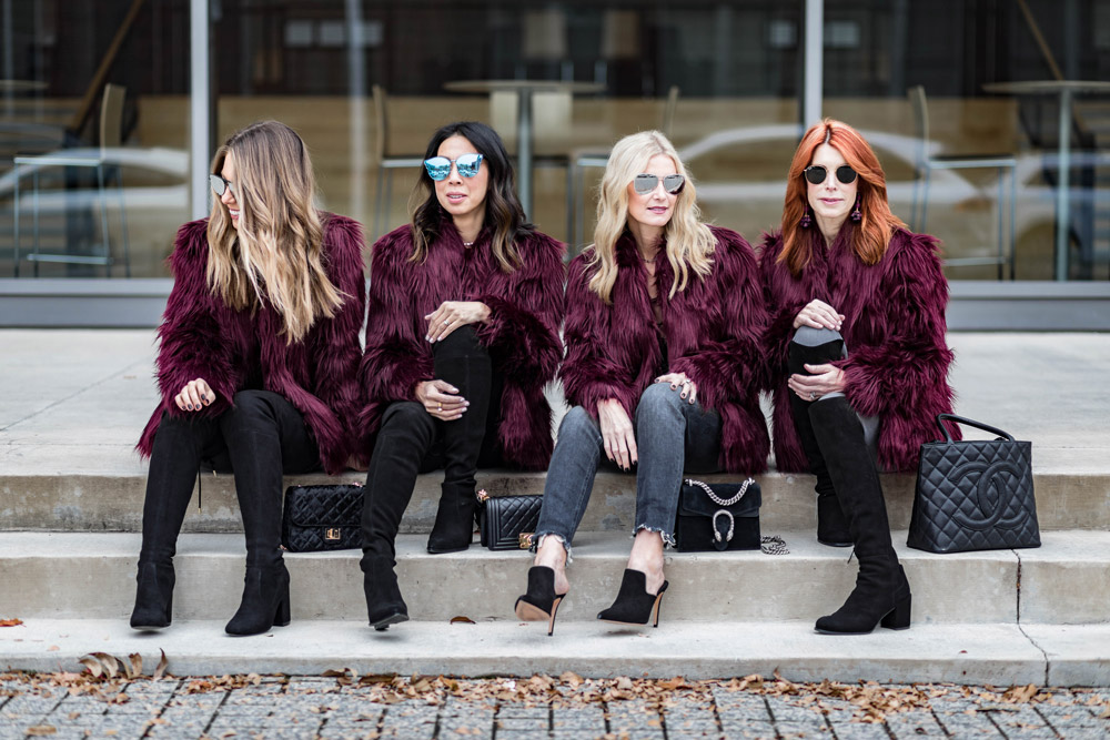 how to wear a burgundy faux fur jacket