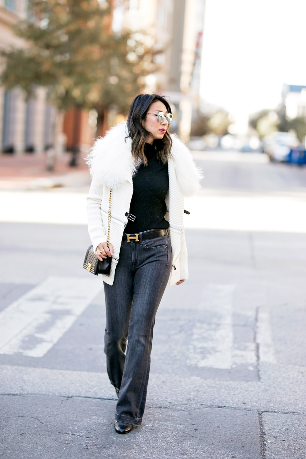 barbara bui mongolian fur collar buckle zip sweater black and white outfit