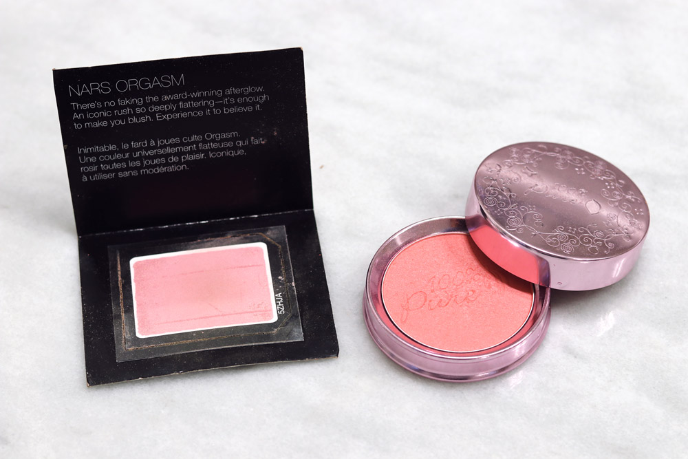 clean beauty dupe NARS orgasm blush, 100 percent pure mimosa blush review