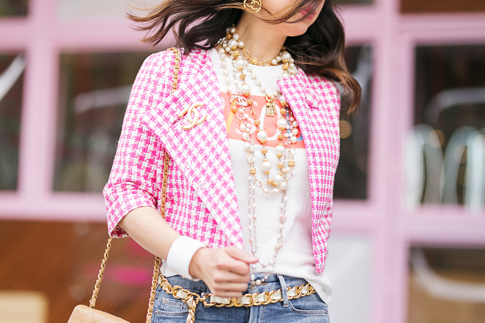 pink gingham jacket bisou! graphic tee chanel earrings accessories