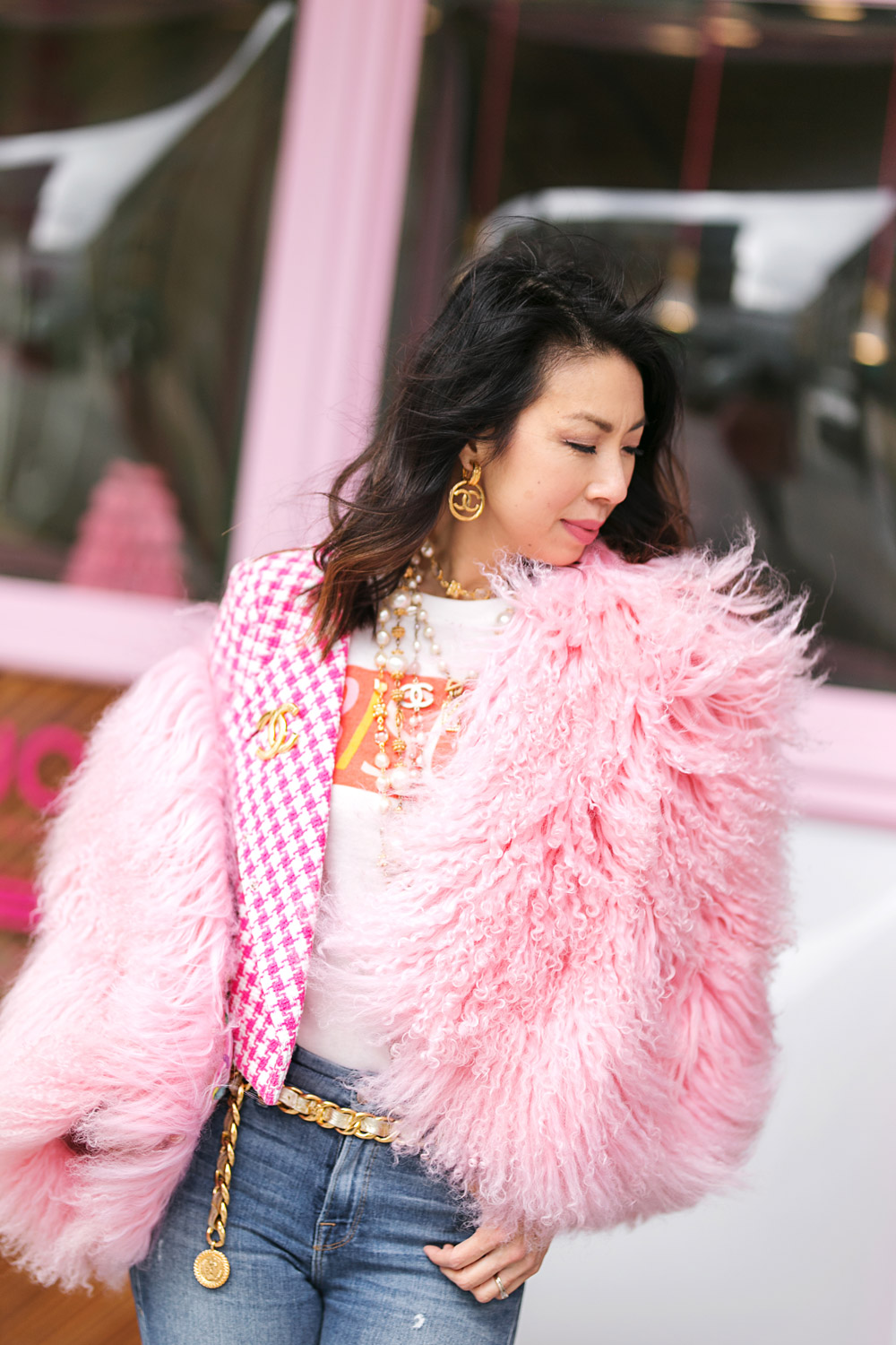 pink gingham jacket bisou! graphic tee chanel accessories charlotte simone pink fur bomber jacket