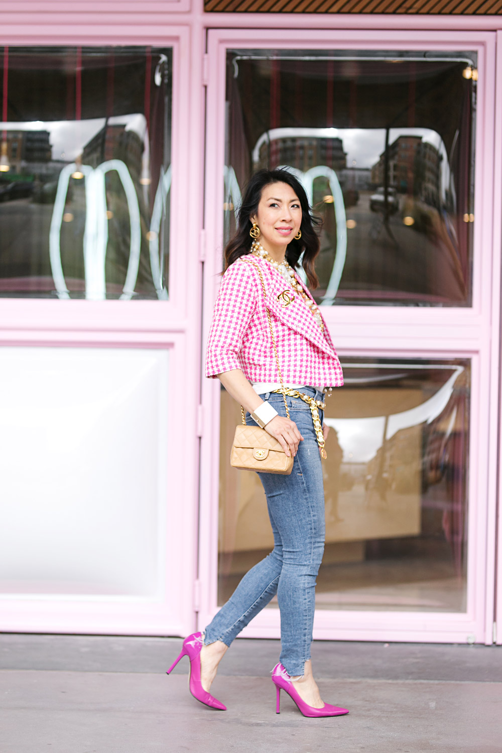 pink gingham jacket bisou! graphic tee chanel accessories