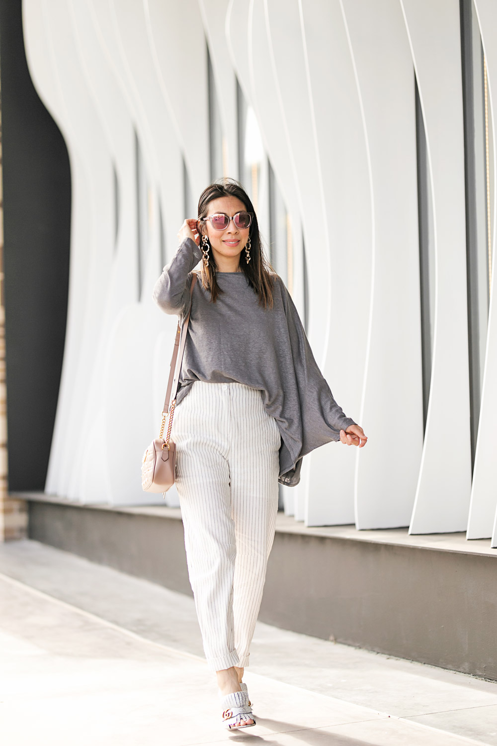 927c3418e877 ... fort worth blogger with gucci marmont pearl camera bag silver mules style  of sam in ruti asymmetrical top and pinstripe pants