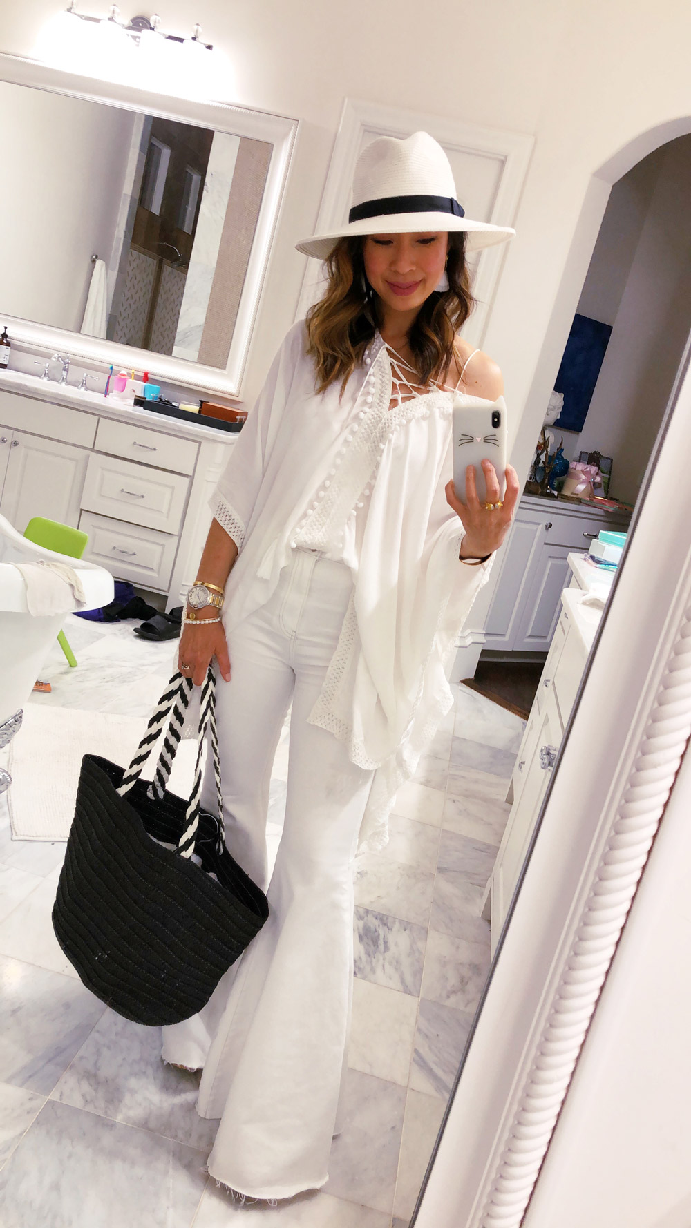 style of sam in rachel zoe summer box of style all white outfit with hat and 8688200afdf
