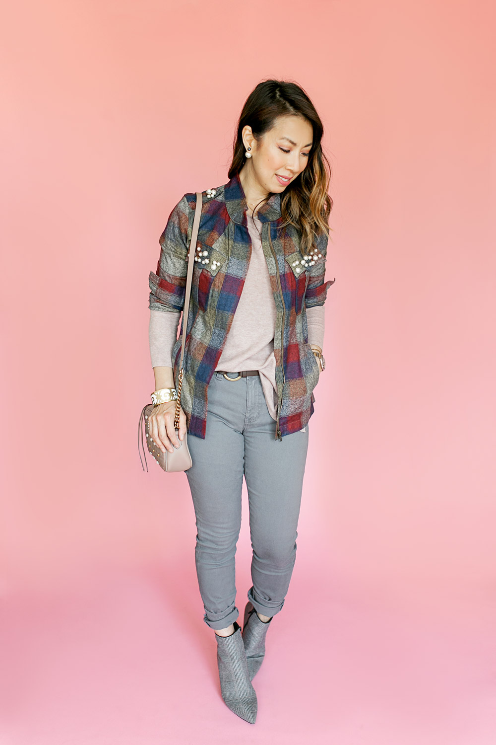 7f6513e375caa style of sam in cabi fall 2018 pearl plaid collage jacket dandy boot