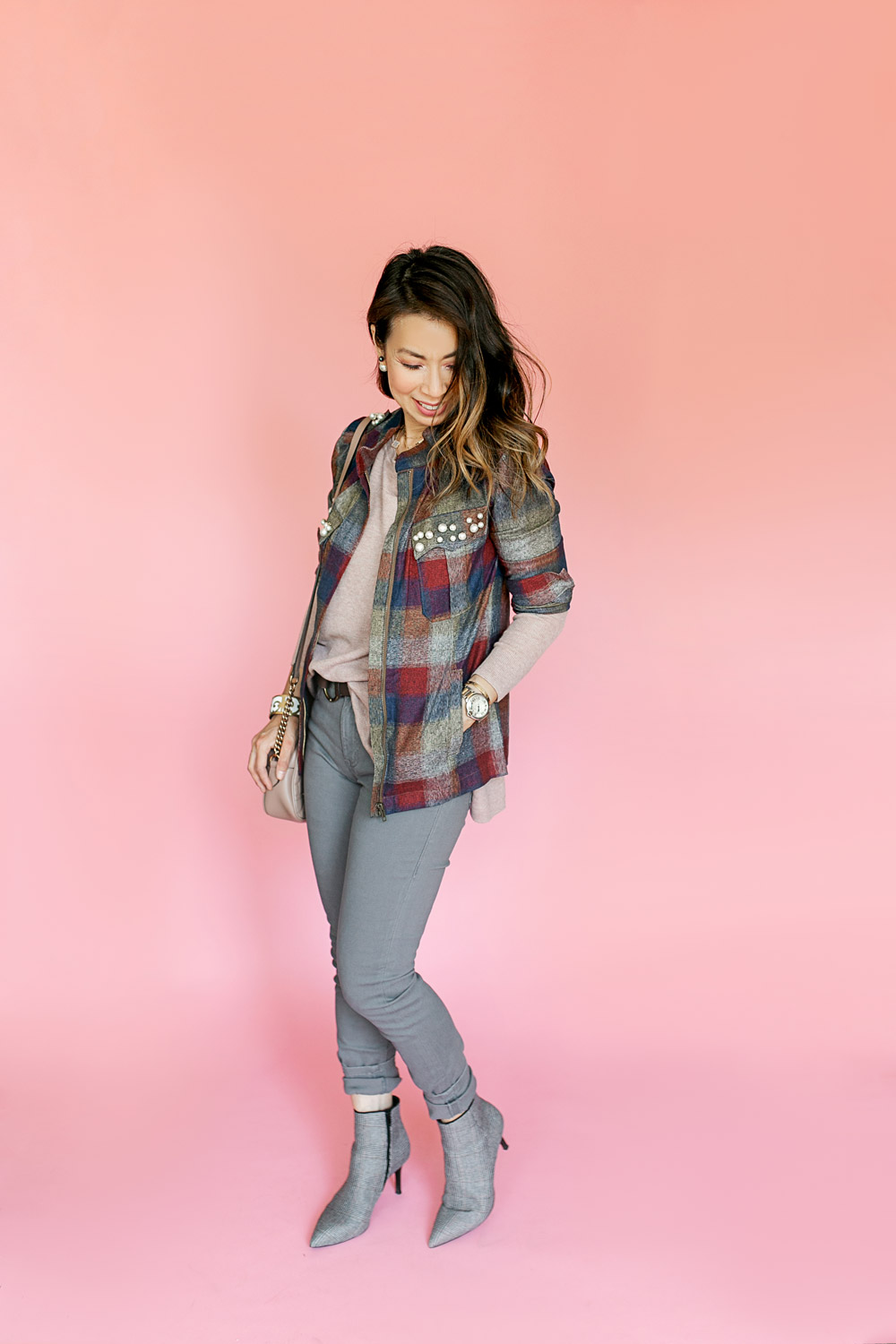 a529171eec304 ... style of sam in cabi fall 2018 pearl plaid collage jacket dandy boot