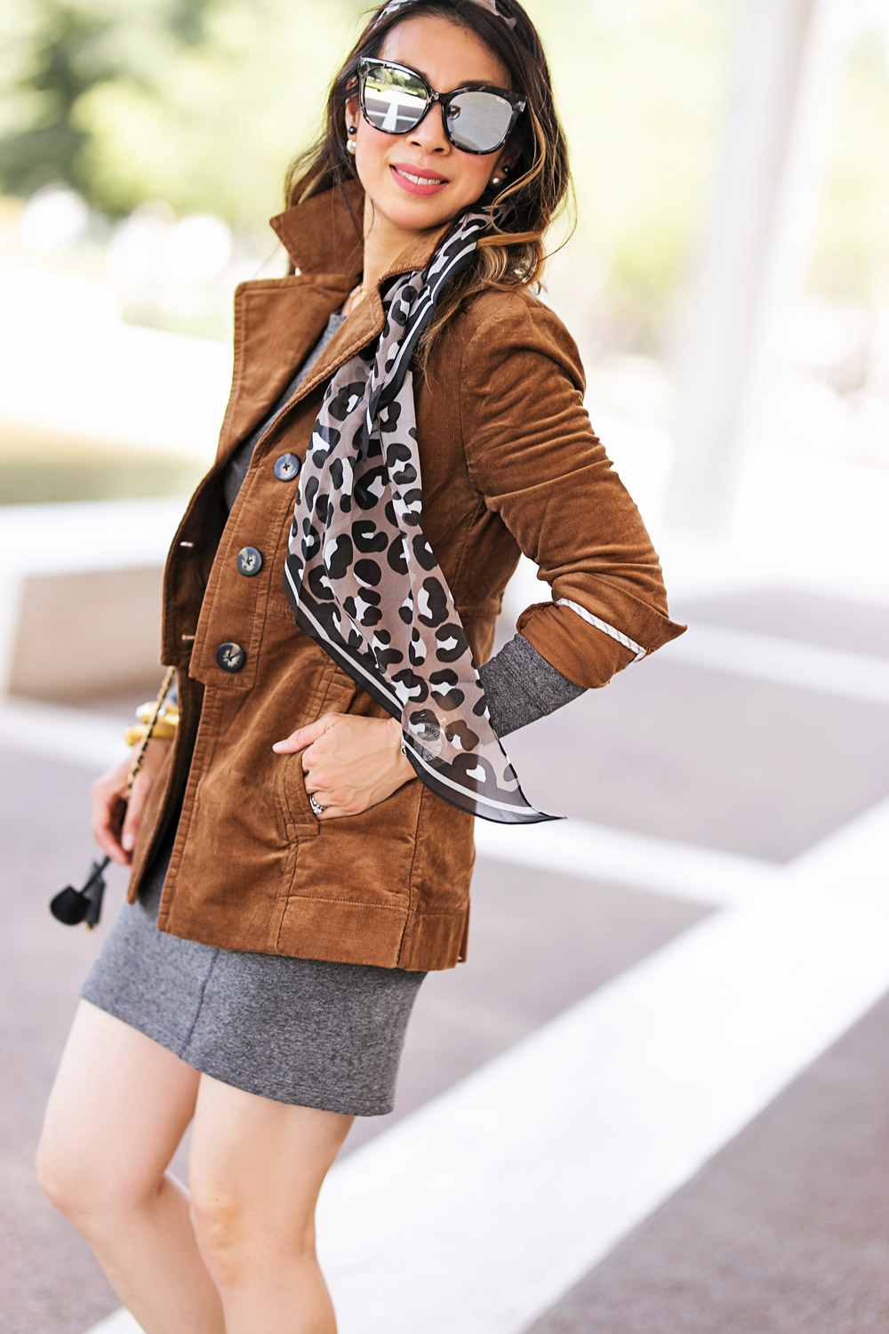 d340ad0ef8677 ... style of sam in cabi fall 2018 journey jacket put on dress and leopard  scarf ...