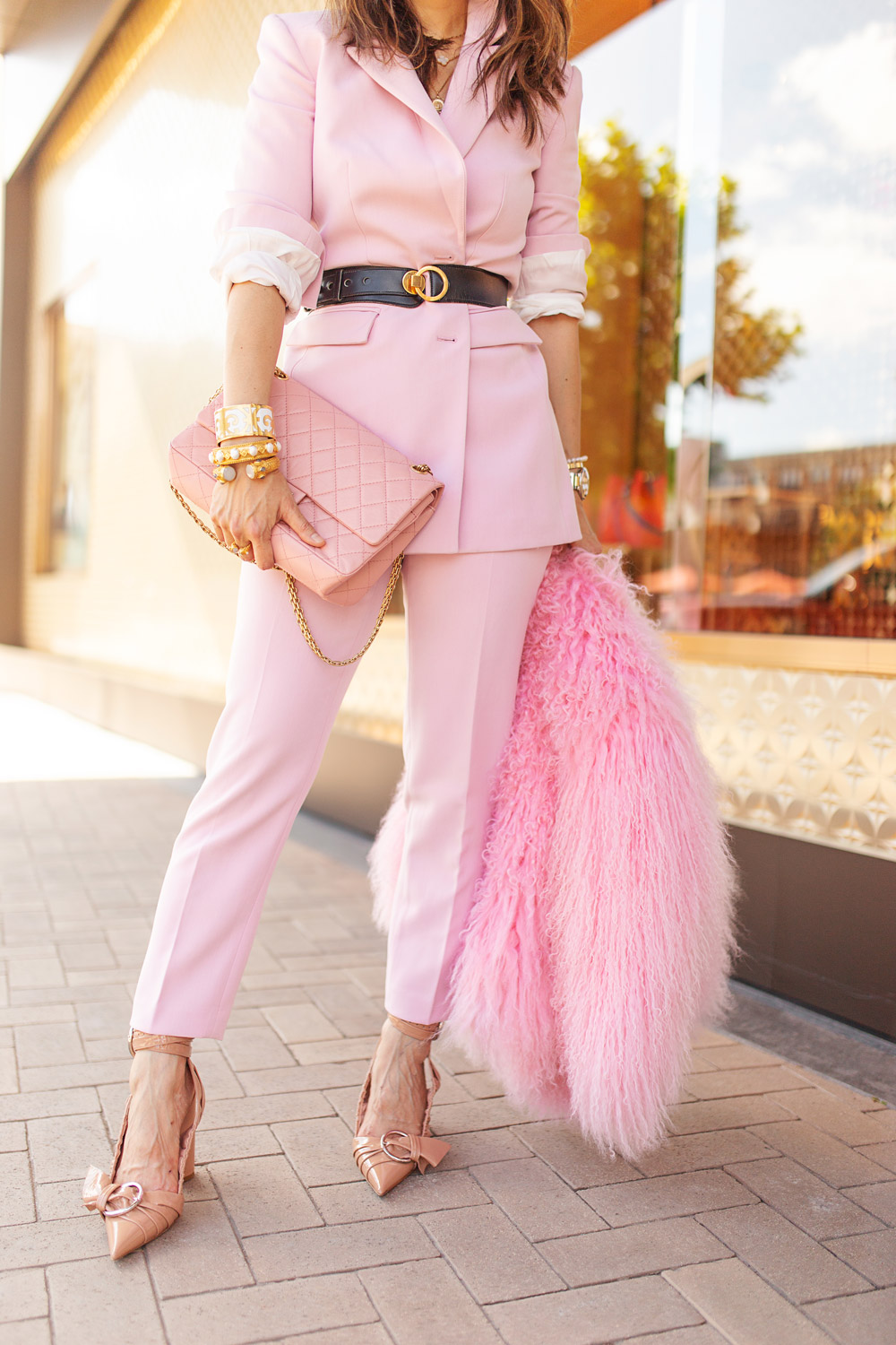 8649bc1775f ... style of sam in something navy pink suit chanel reissue dior conquest  heels ...