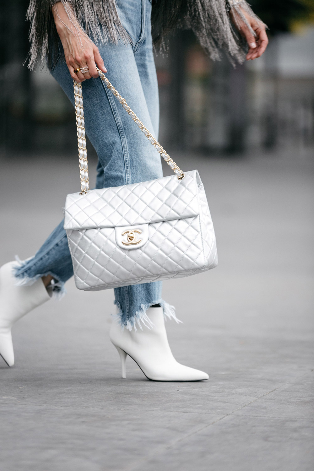 119ae9b038b style of sam in vintage chanel silver maxi flap bag white booties 3x1  shelter crop jeans